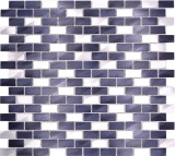 Mosaik Fliese Aluminium Brick Aluminium alu schwarz Fliesenspiegel Küche MOS48-0208