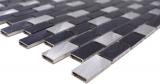 Mosaik Fliese Aluminium Brick Aluminium alu schwarz Fliesenspiegel Küche MOS48-0208_m