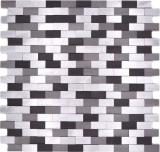 Mosaik Fliese Aluminium Brick Aluminium 3D alu silber schwarz MOS49-0208