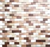 Mosaik Fliese Aluminium Brick Aluminium 3D alu silber kupfer MOS49-0207