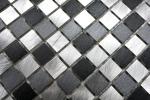 Mosaik Fliese Aluminium Alu alu grau schwarz Fliesenspiegel Küche MOS49-0209_m