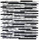 Mosaik Fliese Aluminium Verbund Alu alu grau schwarz Fliesenspiegel Küche MOS49-0306