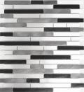Mosaik Fliese Aluminium Verbund Alu alu grau schwarz Fliesenspiegel Küche MOS49-0308