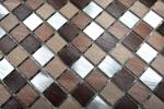 Mosaik Fliese Aluminium beige braun Alu alu kupfer Fliesenspiegel Küche MOS49-A971_m