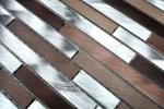 Mosaik Fliese Aluminium beige braun Verbund Alu alu kupfer Fliesenspiegel Küche MOS49-A991_m