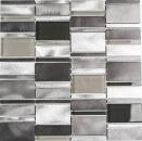 Mosaik Fliese Aluminium Transluzent Kombination Alu Glasmosaik Crystal klar grau MOS49-0204