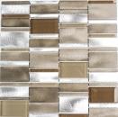Mosaik Fliese Aluminium Transluzent Kombination Alu Glasmosaik Crystal beige braun MOS49-1202