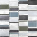Mosaik Fliese Aluminium Transluzent Kombination Alu Glasmosaik Crystal braun MOS49-0205