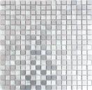 Mosaik Fliese Aluminium Transluzent Alu Glasmosaik Crystal silber MOS49-A309F