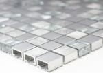 Mosaik Fliese Aluminium Transluzent Alu Glasmosaik Crystal silber MOS49-A309F_m