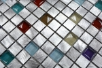 Mosaik Fliese Aluminium Transluzent Alu Glasmosaik Crystal silber bunt MOS49-A702_m