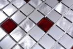 Mosaik Fliese Aluminium Transluzent Alu Glasmosaik Crystal silber rot MOS49-O301F_m