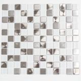 Mosaik Fliese Transluzent Edelstahl Glasmosaik Crystal Stahl weiß klar MOS129-0104