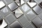 Mosaik Fliese Transluzent Edelstahl Glasmosaik Crystal Stahl weiß klar MOS129-0104_m