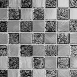 Mosaik Fliese Aluminium Transluzent Glasmosaik Crystal Alu schachbrett schwarz silber MOS49-0302