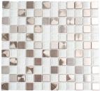 Mosaik Fliese Transluzent Edelstahl Glasmosaik Crystal Stahl weiß klar MOS129-0104_8mm