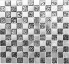 Mosaik Fliese Aluminium Transluzent Glasmosaik Crystal Alu schachbrett schwarz silber MOS49-0302_8mm