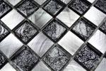 Mosaik Fliese Aluminium Transluzent Glasmosaik Crystal Alu schachbrett schwarz silber MOS49-0302_8mm_m