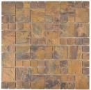 Mosaik Fliese Kupfer kupfer Kombination braun Fliesenspiegel Küche MOS49-1502