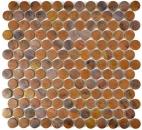 Mosaik Fliese Kupfer kupfer Knopf braun MOS49-1506