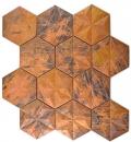 Mosaik Fliese Kupfer kupfer Hexagon 3D braun MOS49-1516