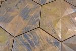 Mosaik Fliese Kupfer kupfer Hexagon 3D braun Fliesenspiegel KücheMOS49-1516_m