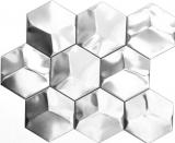 Mosaik Fliese Edelstahl silber Hexagon 3D Stahl gebürstet Fliesenspiegel Küche MOS129-HXM20SD