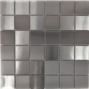 Mosaik Fliese Edelstahl silber silber Stahl gebürstet MOS129-48D