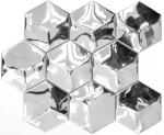 Mosaik Fliese Edelstahl silber Hexagon 3D Stahl glänzend MOS129-HXM10SG