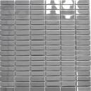 Mosaik Fliese Edelstahl silber Rechteck silber Stahl glänzend MOS129-0215