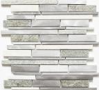 Mosaik Fliese Quarzit Naturstein Aluminium silber grau hellbeige Verbund MOS49-XSA535