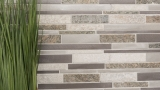 Mosaik Fliese Quarzit Naturstein Aluminium silber grau hellbeige Verbund MOS49-XSA535_m
