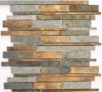 Mosaik Fliese Stein Kupfer grau rost kupfer Verbund Stein MOS47-XSK565