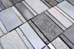 Mosaik Fliese Quarzit Naturstein Aluminium silber grau hellbeige Rechteck MOS49-505_m