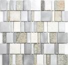 Mosaik Fliese Quarzit Naturstein Aluminium silber grau hellbeige Rechteck MOS49-515