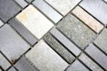Mosaik Fliese Quarzit Naturstein Aluminium silber grau hellbeige Rechteck MOS49-515_m