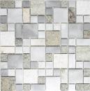Mosaik Fliese Quarzit Naturstein Aluminium silber grau hellbeige Kombination MOS49-525