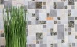Mosaik Fliese Quarzit Naturstein Aluminium silber grau hellbeige Kombination MOS49-525_m