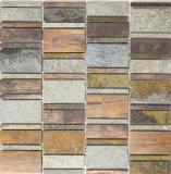 Mosaik Fliese Kupfer grau rost kupfer Rechteck Stein Küche MOS47-575