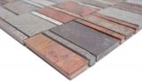 Mosaik Fliese Kupfer grau rost kupfer Rechteck Stein Fliesenspiegel Küche MOS47-575_m