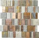 Mosaik Fliese Kupfer grau rost kupfer Rechteck Stein Küche MOS47-585