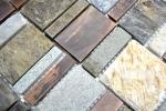 Mosaik Fliese Kupfer grau rost kupfer Rechteck Stein Fliesenspiegel Küche MOS47-585_m