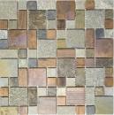 Mosaik Fliese Kupfer grau rost kupfer Kombination Fliesenspiegel Küche Stein MOS47-595