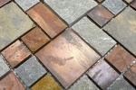 Mosaik Fliese Kupfer grau rost kupfer Kombination Fliesenspiegel Küche Stein MOS47-595_m
