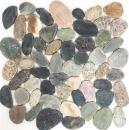 Mosaik Fliese Flußkiesel Steinkiesel Kiesel geschnitten weiß-gelb MOS30-0104