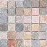Mosaik Fliese Quarzit Naturstein Quarzit beige Küchenrückwand Spritzschutz grau MOS36-0204