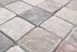 Mosaik Fliese Quarzit Naturstein Quarzit beige Küchenrückwand Spritzschutz grau MOS36-0204_m