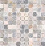 Mosaik Fliese Quarzit Naturstein Quarzit beige Küchenrückwand Spritzschutz grau MOS36-0206