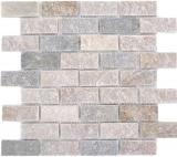Mosaik Fliese Quarzit Naturstein Brick Quarzit Küchenrückwand Spritzschutz beige grau MOS36-0208