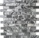 Mosaik Fliese Quarzit Naturstein Brick silbergrau poliert MOS28-0202_C